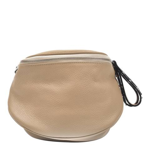 Anna Luchini Taupe Leather Shoulder Bag