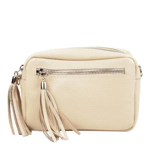 Isabella Rhea Beige Leather Tassel Shoulder Bag