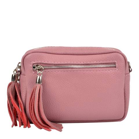 Isabella Rhea Dark Pink Leather Tassel Leather Shoulder Bag
