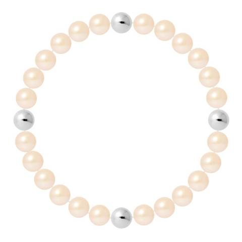 Mitzuko Pink Pearl Elasticated Bracelet With Silver Bowls
