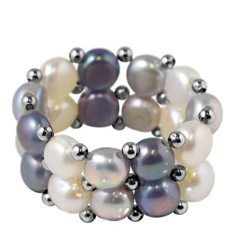 Mitzuko Grey/White Two Row Pearl Ring
