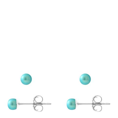 Mitzuko Turquoise Silver Pearl Earrings 4-5mm