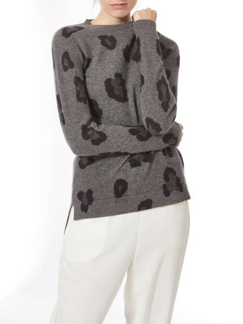 Princess of Scotland Grey Crew Neck Leopard Print Jumper