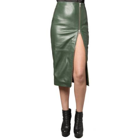 Muubaa Green  Jowlett Zip Leather Skirt