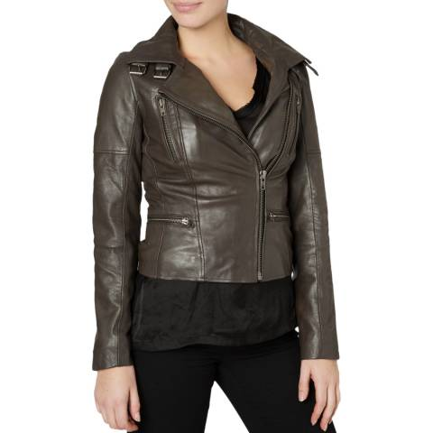 Muubaa Grey Nobel Leather Biker Jacket