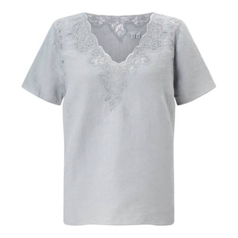 Jigsaw Floral Embroidered Linen Top
