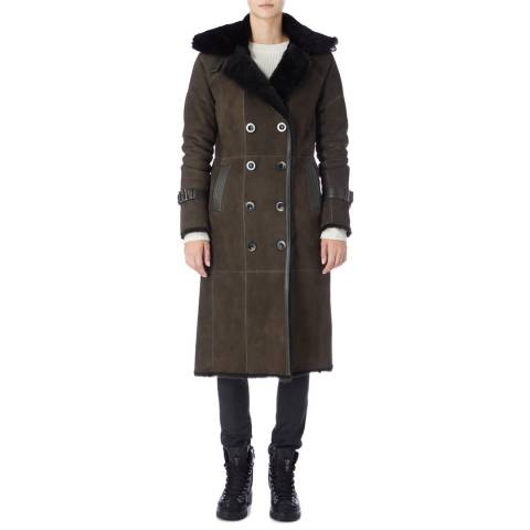 Max and Zac London Green Shearling Trench Coat