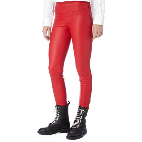 Max and Zac London Red Stretch Leather Leggings