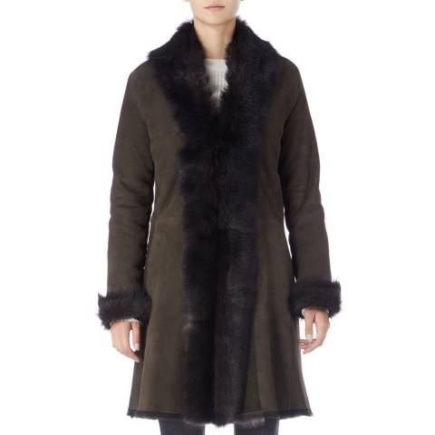 Max and Zac London Green 3/4 Shearling Coat