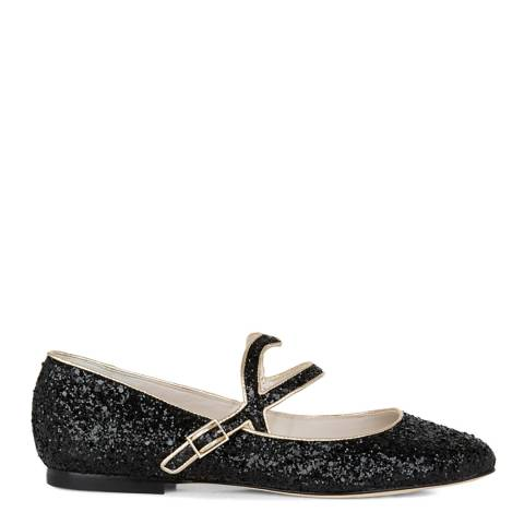 Lulu Guinness Black Glitter Cut-out Lip Eloise Pumps