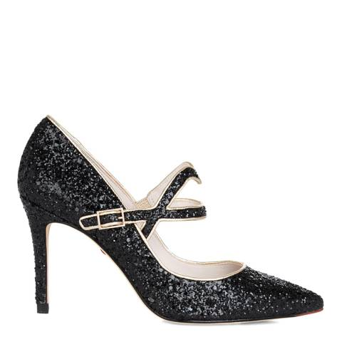 Lulu Guinness Black Glitter Cutout Lip Billie Court Shoes