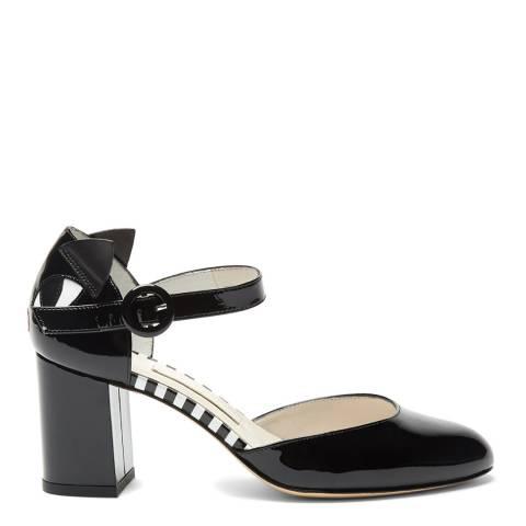 Lulu Guinness Black Patent Leather Kooky Cat Renee Court Shoes