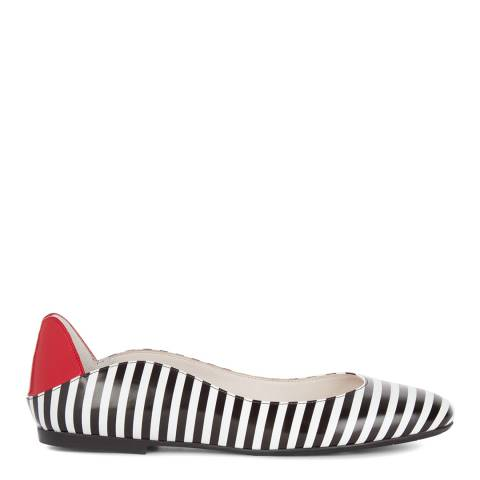 Lulu Guinness Black & White Leather 2nd Glance Lips Elise Pumps