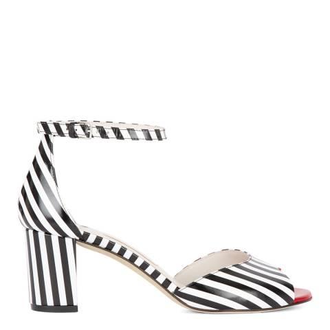 Lulu Guinness Black & White Stripe Leather Faye Heeled Sandals