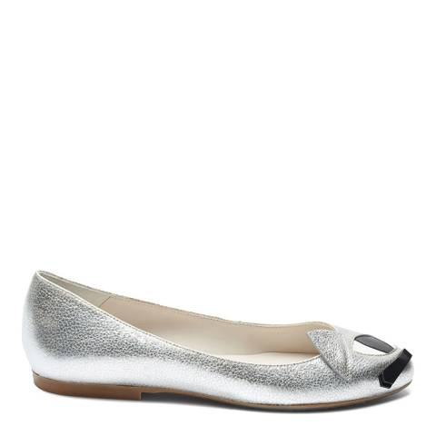 Lulu Guinness Silver Metallic Leather Kooky Cat Ellie Pumps
