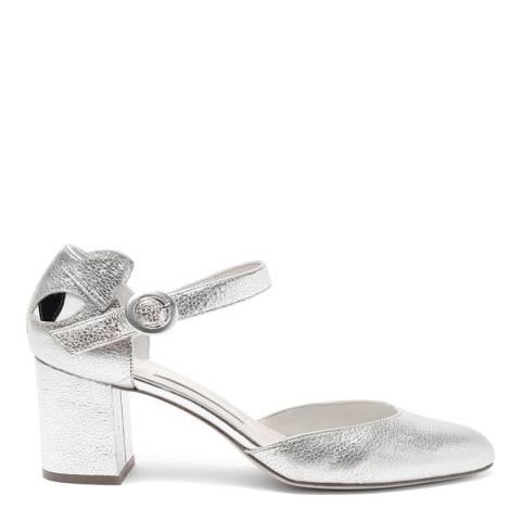 Lulu Guinness Silver Metallic Leather Kooky Cat Renee Court Shoes