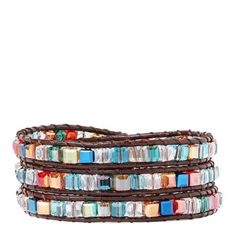 Liv Oliver Multi Crystal Leather Wrap Bracelet