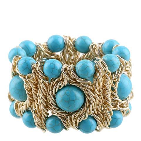 Liv Oliver 18K Gold Plated Turquoise Statement Bracelet