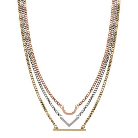 Liv Oliver 18k Tri Colour Geometric Necklace