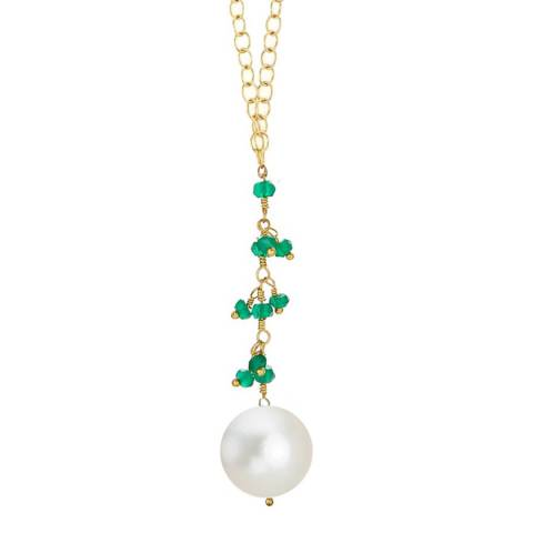 Liv Oliver 18k Gold Plated Green Onyx And Pearl Drop Necklace