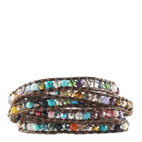 Liv Oliver Multi Color Gemstone Leather Wrap Bracelet