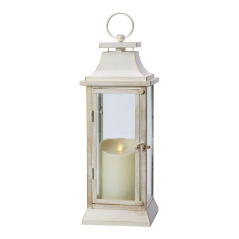 Luminara Weather Resistant Heritage Lantern White with Ivory Soft Candle 40cm
