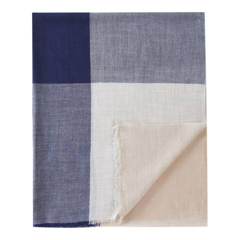 Pure Collection Navy Check Ultra Soft Wool Scarf