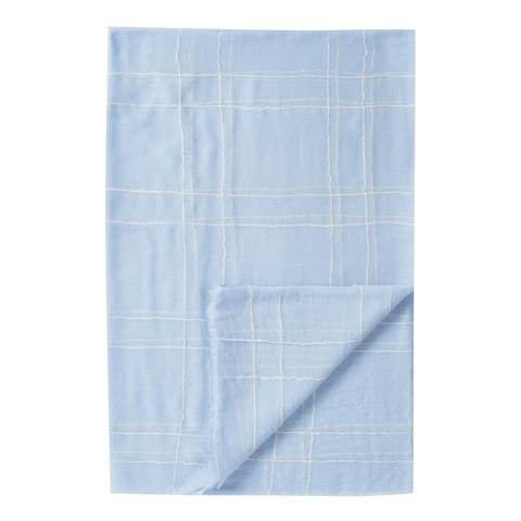 Pure Collection Pale Blue Check Ultra Soft Wool Scarf
