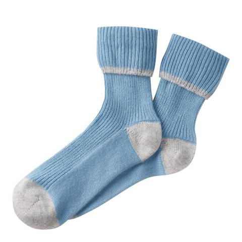 Pure Collection Grey/Antique Blue Cashmere Bed Socks