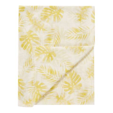 Pure Collection Yellow Botanical Print Modal Silk Scarf