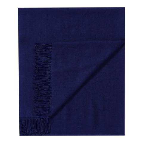 Pure Collection Navy Cashmere Pashmina Shawl