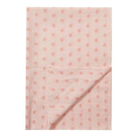 Pure Collection Pink/ Rose Gold Soft Cotton Lurex Spot Scarf
