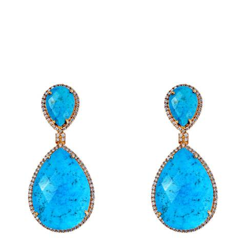 Liv Oliver 18k Gold Plated Double Pear Turquoise Embellished Drop Earrings