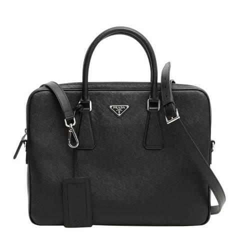 Prada Black Saffiano Slim Briefcase
