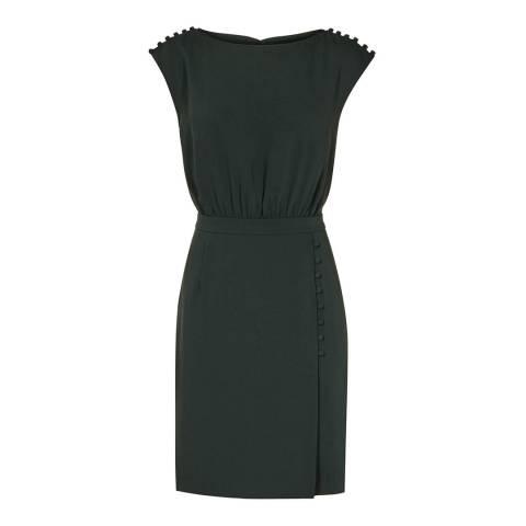 Reiss Forest Green Zara Buttons Dress
