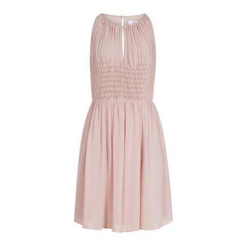 Reiss Dusky Pink Charlotte Smocking Dress