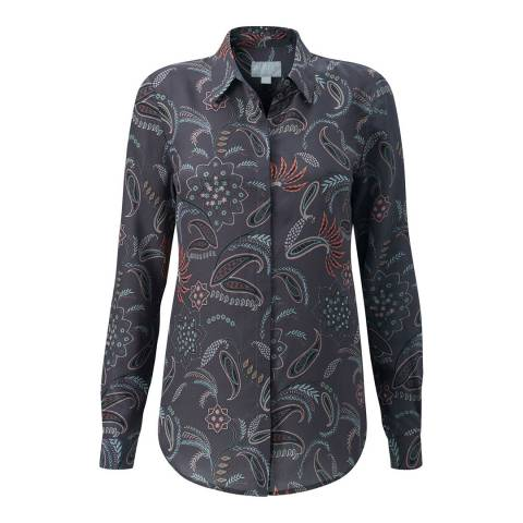 Pure Collection Charcoal Relaxed Washed Silk Blouse