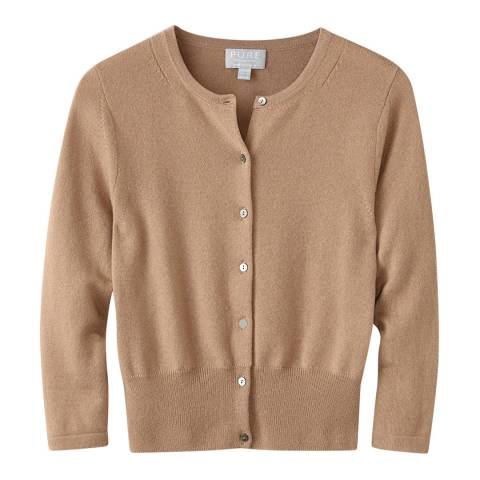 Pure Collection Soft Walnut Cashmere Cropped Cardigan