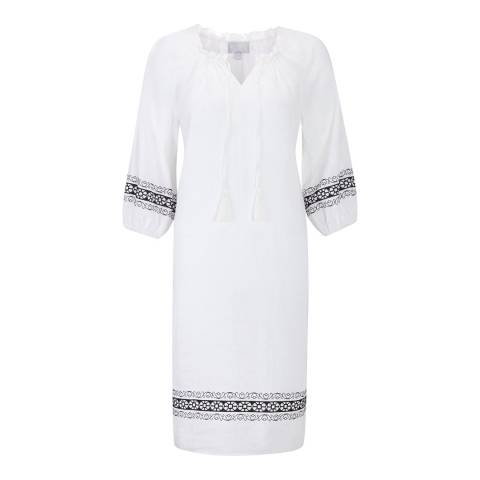 Pure Collection White Laundered Linen Embroidered Tunic