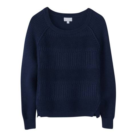 Pure Collection Navy Soft Cotton Textured Jumper