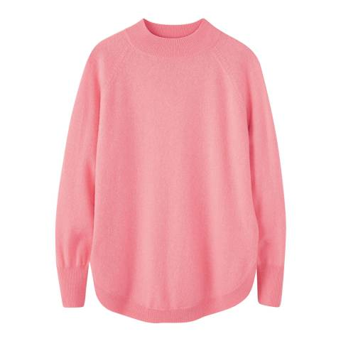 Pure Collection Flamingo Pink Turtle Neck Curved Hem Jumper