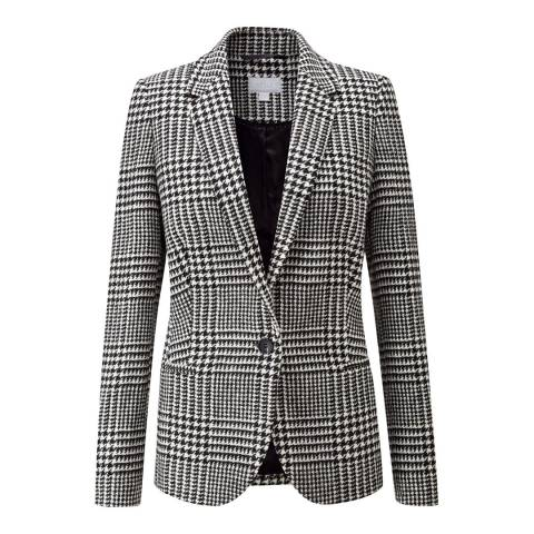 Pure Collection Black/White Check Tailored Wool Blazer