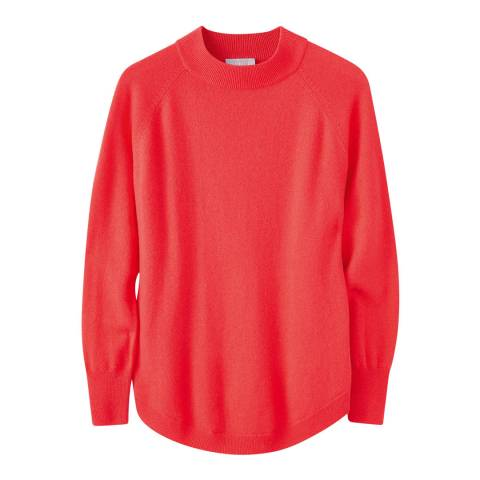 Pure Collection Coral Turtle Neck Curved Hem Jumper