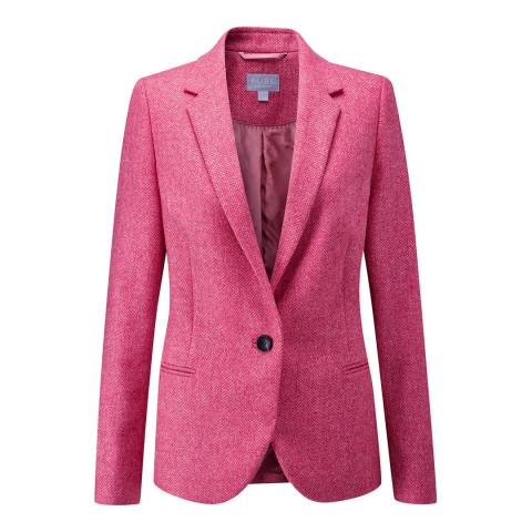 Pure Collection Pink Herringbone Tailored Wool Blazer