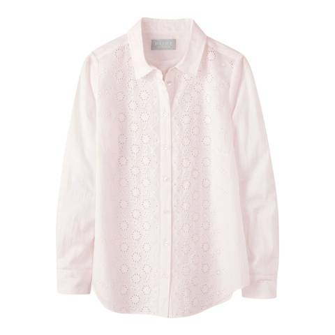 Pure Collection Pink Broderie Anglaise Cotton Shirt
