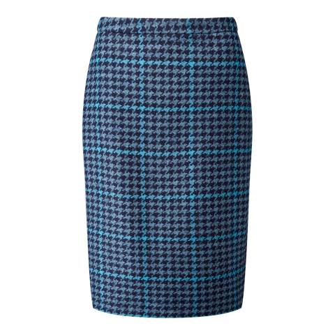 Pure Collection Multi Dogtooth Wool Pencil Skirt
