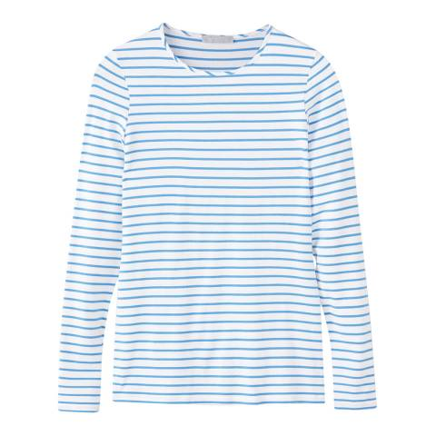 Pure Collection Blue/ White Soft Jersey Crew Neck Top