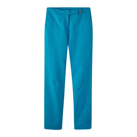 Pure Collection Peacock Blue Cotton Stretch Sateen Ankle Trouser