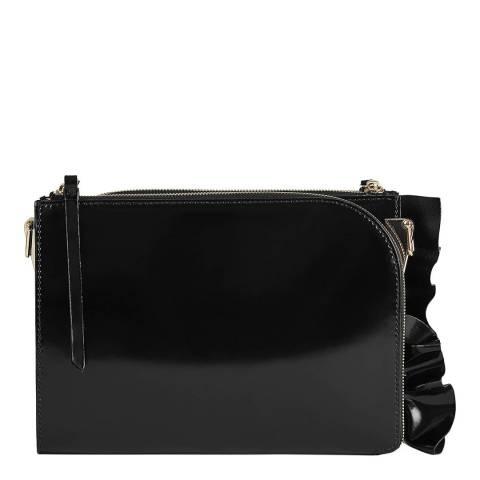 Reiss Black Arnott Shine Ruffle Bag