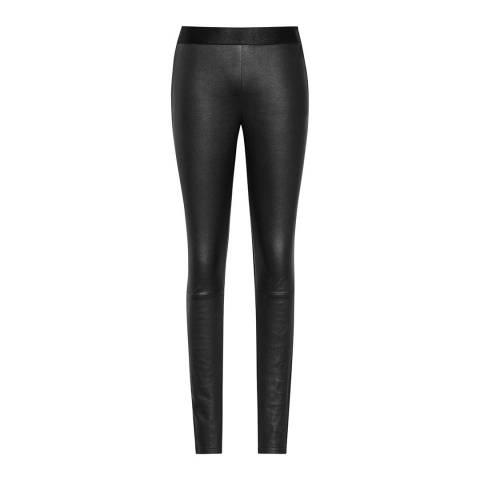 Reiss Black Knole Leather Front Leggings